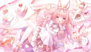 Rating: Safe Score: 27 Tags: animal_ears blush bow brown_hair bunny_ears cake crown drink food fruit lolita_fashion long_hair maid omochi_monaka pink purple_eyes signed strawberry thighhighs User: BattlequeenYume