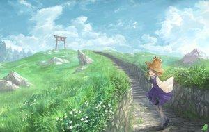 Rating: Safe Score: 48 Tags: brown_hair clouds dress flowers grass green_eyes hat landscape moriya_suwako pantyhose scenic short_hair sky torii touhou you_(shimizu) User: RyuZU