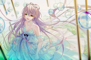 Rating: Safe Score: 91 Tags: choker dress elbow_gloves gloves gray_hair green_eyes long_hair luo_tianyi petals ribbons tidsean vocaloid vocaloid_china User: Fepple