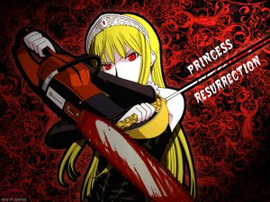 Rating: Questionable Score: 42 Tags: blonde_hair blood chainsaw crown hime kaibutsu_oujo long_hair red_eyes signed sword weapon User: DronEll