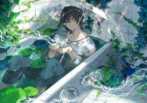 Rating: Safe Score: 39 Tags: aliasing all_male bath bathtub black_hair green_eyes kyouichi male original rainbow short_hair umbrella water wet User: RyuZU