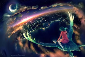 Rating: Safe Score: 166 Tags: animal building city clouds green_hair hoodie moon night original scenic sky stars sunset thighhighs turtle water watermark wenqing_yan_(yuumei_art) wings User: Flandre93