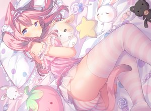 Rating: Questionable Score: 125 Tags: animal_ears ass bed blue_eyes bunny candy catgirl headband lollipop long_hair original panties pink_hair shouu-kun skirt striped_panties tail thighhighs twintails underwear User: BattlequeenYume