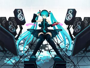 Rating: Safe Score: 154 Tags: aqua_eyes aqua_hair hatsune_miku headphones niou_kaoru thighhighs twintails vocaloid User: HawthorneKitty