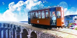 Rating: Safe Score: 35 Tags: bicolored_eyes blonde_hair brown_hair building clouds dress group halo headband laejjo landscape long_hair maid male original pink_hair purple_eyes red_eyes scenic sky train twintails wings User: BattlequeenYume