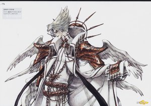 Rating: Safe Score: 9 Tags: blonde_hair cain_nightroad gloves thores_shibamoto trinity_blood white wings User: atlantiza