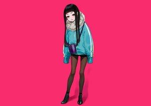 Rating: Safe Score: 51 Tags: black_eyes black_hair boots cat_smile long_hair original pantyhose pink shorts yuu_(higashi_no_penguin) User: otaku_emmy