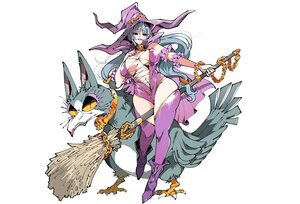 Rating: Safe Score: 46 Tags: aliasing animal bird blue_eyes blue_hair boots breasts cape chain hat kafun leotard long_hair navel original thighhighs white witch witch_hat User: otaku_emmy