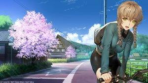 Rating: Safe Score: 27 Tags: amane_suzuha bicycle bike_shorts braids building cherry_blossoms clouds green_eyes landscape mirror niko_p scenic shorts sky steins;gate tree watermark yang-do User: gnarf1975