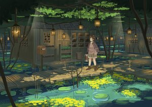 Rating: Safe Score: 39 Tags: ame246 animal_ears boots brown_eyes brown_hair building cape flowers forest hoodie leaves original scenic shade shorts tree water User: otaku_emmy