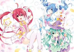 Rating: Safe Score: 63 Tags: blue_eyes blue_hair date_a_live dress gloves green_eyes green_hair hat itsuka_kotori loli long_hair natsumi_(date_a_live) red_eyes red_hair thighhighs tsunako twintails weapon witch yoshino_(date_a_live) yoshinon_(date_a_live) User: Nepcoheart