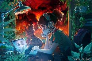 Rating: Safe Score: 37 Tags: animal black_eyes brown_eyes cat computer headphones original parody ponytail watermark wenqing_yan_(yuumei_art) User: mattiasc02
