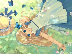 Rating: Safe Score: 19 Tags: blonde_hair blue_eyes butterfly flowers gagraphic grass hat kuga_tsukasa logo watermark User: Oyashiro-sama