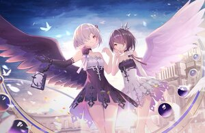 Rating: Safe Score: 48 Tags: 2girls brown_eyes building dress elbow_gloves gloves gray_hair original purple_hair shimutsuki sky wings User: BattlequeenYume
