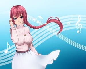 Rating: Safe Score: 60 Tags: asanome_(noboes) blue_eyes braids megurine_luka red_hair vocaloid User: FormX