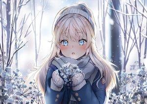 Rating: Safe Score: 79 Tags: aqua_eyes blonde_hair close gloves hat long_hair original scarf signed snow sunako_(veera) tree winter User: RyuZU