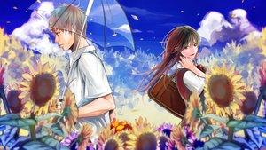 Rating: Safe Score: 32 Tags: flowers kyo_8sun school_uniform sunflower umbrella vocaloid User: aoyoru