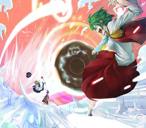 Rating: Safe Score: 16 Tags: green_hair hat kazami_yuuka kirisame_marisa morino_hon red_eyes short_hair skirt touhou umbrella User: PAIIS