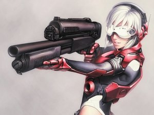 Rating: Safe Score: 111 Tags: bodysuit ghost_in_the_shell goggles gun headphones iwai_ryo kusanagi_motoko short_hair weapon white_hair User: 02