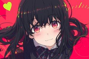 Rating: Safe Score: 90 Tags: black_hair blush bow close long_hair ogipote original red red_eyes school_uniform User: Dreista
