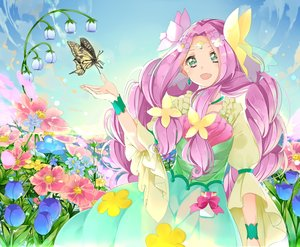 Rating: Safe Score: 4 Tags: butterfly clouds cure_felice flowers long_hair mahou_girls_precure! pink_hair precure sky wristwear yuutarou_(fukiiincho) User: RyuZU