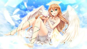 Rating: Safe Score: 93 Tags: akine_(kuroyuri) angel barefoot bloomers brown_hair clouds dress feathers green_eyes halo long_hair original sky wings User: BattlequeenYume