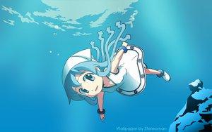 Rating: Safe Score: 33 Tags: anbe_masahiro blue blue_eyes blue_hair ikamusume loli shinryaku!_ikamusume underwater water User: Maboroshi