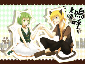 Rating: Safe Score: 14 Tags: catboy catgirl gumi kagamine_len vocaloid User: HawthorneKitty