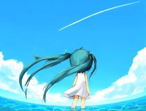 Rating: Safe Score: 72 Tags: aqua_hair chibi clouds dress hatsune_miku mochi_(empty_p) sky twintails vocaloid water User: STORM