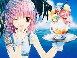 Rating: Safe Score: 67 Tags: food headdress hinamori_amu miki_(shugo_chara) peach-pit pink_hair ran_(shugo_chara) shugo_chara suu_(shugo_chara) wristwear yellow_eyes User: pantu
