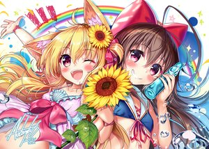 Rating: Safe Score: 42 Tags: 2girls akabane_(zebrasmise) animal_ears bikini_top blonde_hair blush bow brown_hair flowers long_hair original pink_eyes signed sunflower wink User: RyuZU