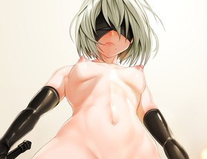 Rating: Questionable Score: 153 Tags: blindfold breasts cropped elbow_gloves gloves gray_hair janong navel nier nier:_automata nipples nude short_hair yorha_unit_no._2_type_b User: SciFi