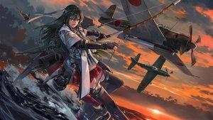 Rating: Safe Score: 49 Tags: aircraft anthropomorphism bow_(weapon) clouds kantai_collection neko_(yanshoujie) sky sunset water weapon zuikaku_(kancolle) User: BattlequeenYume