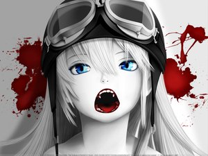 Rating: Safe Score: 260 Tags: bakemonogatari blood blue_eyes fang goggles gray_hair hat long_hair monogatari_(series) oshino_shinobu polychromatic redjuice signed watermark white User: acucar11