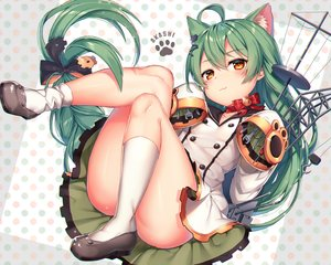Rating: Safe Score: 36 Tags: akashi_(azur_lane) animal_ears anthropomorphism ass azur_lane bell blush bow braids catgirl cat_smile collar dress green_hair kneehighs loli long_hair maru_(sw1tch) orange_eyes seifuku User: RyuZU