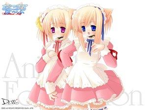 Rating: Safe Score: 24 Tags: animal_ears bell blue_eyes catgirl collar headdress maid pink_eyes ribbons thighhighs white User: Oyashiro-sama