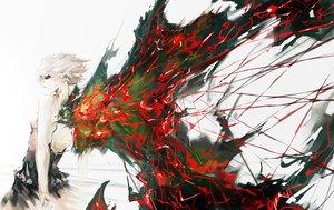 Rating: Safe Score: 138 Tags: kirishima_touka red_eyes short_hair tokyo_ghoul vibiss white_hair wings User: FormX