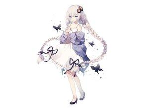 Rating: Safe Score: 99 Tags: blue_eyes bow braids butterfly dress fujii_shino gray_hair kizuna_akari long_hair ribbons summer_dress twintails voiceroid white User: otaku_emmy