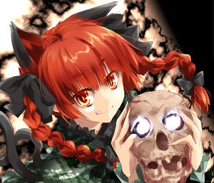 Rating: Safe Score: 72 Tags: animal_ears catgirl kaenbyou_rin matsuno_canel multiple_tails red_hair skull tagme tail touhou User: opai