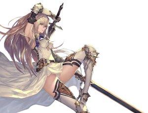 Rating: Safe Score: 162 Tags: armor boots breasts brown_eyes brown_hair dress elbow_gloves gloves long_hair original panties sword tachikawa_mushimaro thighhighs underwear weapon User: RyuZU