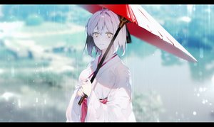 Rating: Safe Score: 28 Tags: fate/grand_order fate_(series) japanese_clothes kimono leo_(feeling_goooood) okita_souji_(fate) rain umbrella water User: Dreista