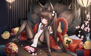 Rating: Safe Score: 21 Tags: amagi-chan_(azur_lane) animal animal_ears anthropomorphism azur_lane ball bird brown_hair flowers gala_(16901040) loli long_hair manjuu_(azur_lane) multiple_tails pantyhose purple_eyes tail User: BattlequeenYume
