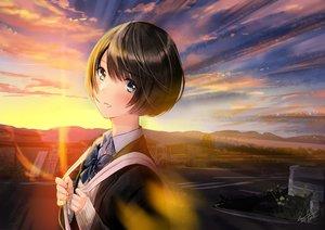 Rating: Safe Score: 23 Tags: aqua_eyes black_hair blush car close clouds kazuharu_kina original school_uniform short_hair signed sky sunset User: Dreista