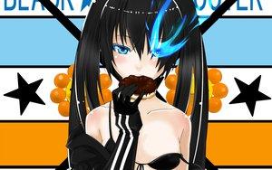 Rating: Questionable Score: 116 Tags: black_rock_shooter blue_eyes bra food kuroi_mato underwear User: bryci