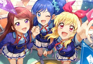 Rating: Safe Score: 25 Tags: aikatsu! aqua_eyes blonde_hair blue_hair boots brown_hair headband hoshimiya_ichigo kiriya_aoi long_hair ponytail purple_eyes red_eyes shibuki_ran skirt uniform zattape User: mattiasc02