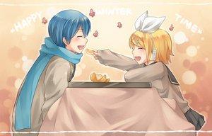 Rating: Safe Score: 25 Tags: food fruit kagamine_rin kaito kotatsu male orange_(fruit) vocaloid User: HawthorneKitty