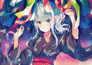 Rating: Safe Score: 60 Tags: aqua_eyes blush japanese_clothes reia scan white_hair yukata User: mattiasc02