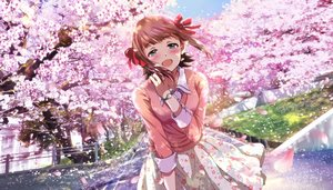 Rating: Safe Score: 55 Tags: aliasing amami_haruka cherry_blossoms flowers hina_(araburu-hinadori) idolmaster tree User: BattlequeenYume