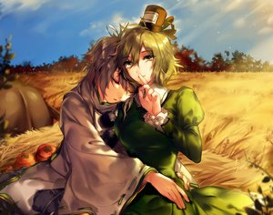 Rating: Safe Score: 60 Tags: 2girls autumn dress gray_hair green_eyes green_hair hat hug hug_(yourhug) japanese_clothes mononobe_no_futo short_hair sleeping soga_no_tojiko touhou User: Flandre93