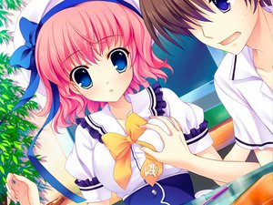 Rating: Safe Score: 37 Tags: blue_eyes breast_grab game_cg hat himezono_risa mitha nanawind pink_hair seifuku short_hair yuyukana User: Wiresetc